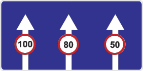 Знак 5.8.9 «Ограничение скорости, действующее на различных полосах движения»