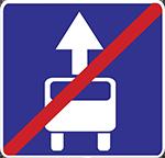 Знак 5.9.1 «Конец полосы для маршрутных транспортных средств»