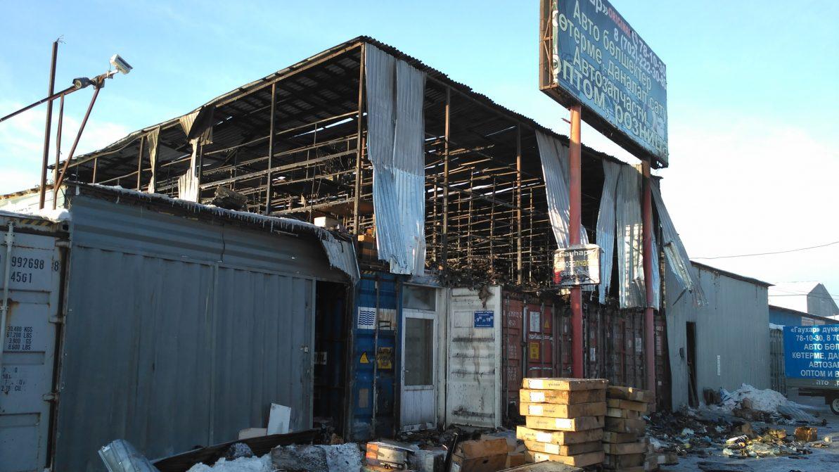 В Астане горел рынок автозапчастей «Салем»