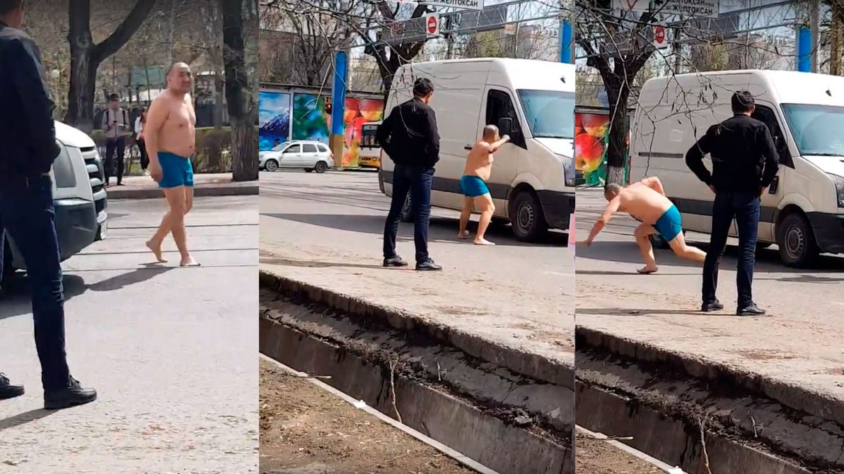 Голый неадекват нападал на машины в Алматы