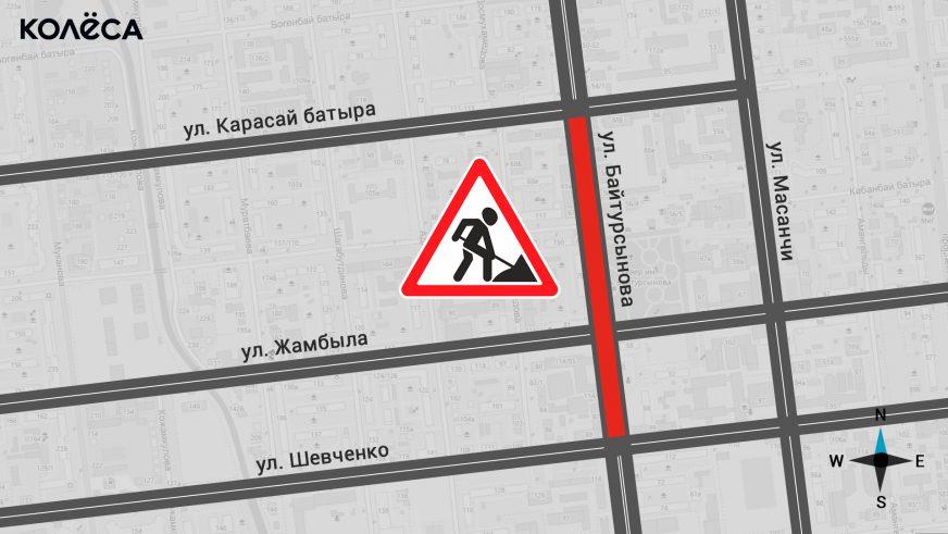 перекрытие на улице Байтурсынова, на отрезке от Шевченко до Карасай батыра