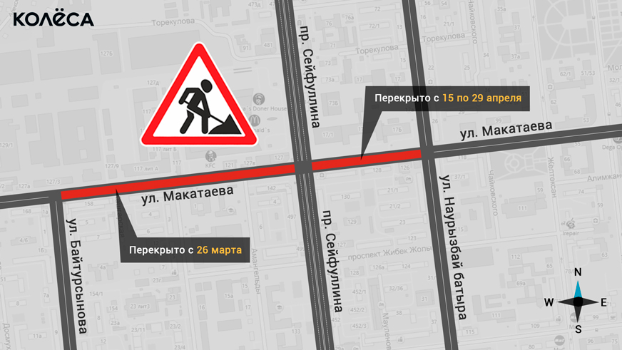 Перекрытие участка  улицы Макатаева от Сейфуллина до Наурызбай батыра