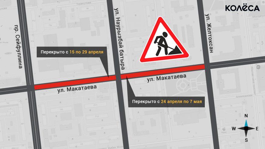 24 апреля, на Макатаева в Алматы изменится схема движения