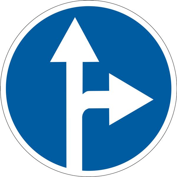 Знак 4.1.5 «Движение прямо или направо»