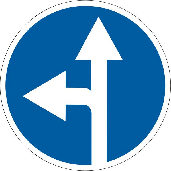 Знак 4.1.4 «Движение прямо и налево»