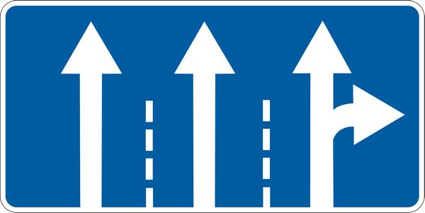 Знаки 5.8.1 и 5.8.2 «Направления движения по полосам»