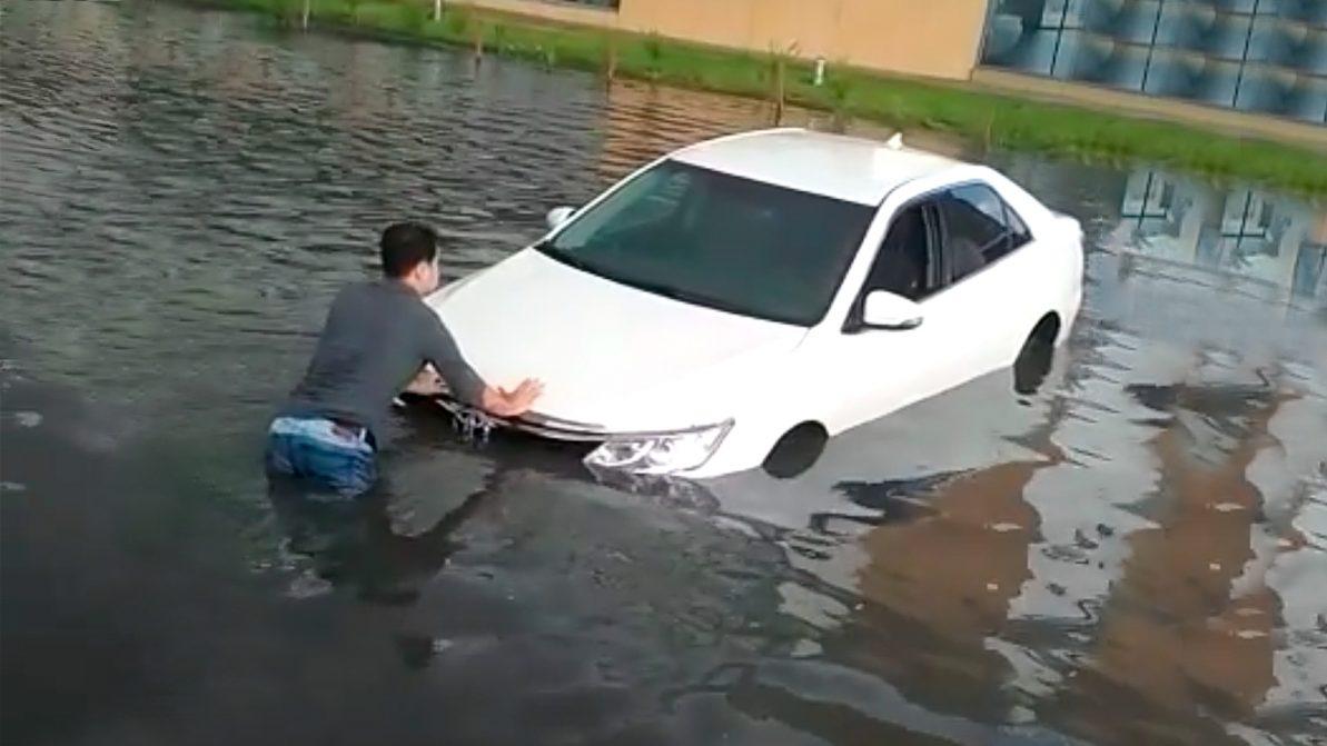 В минувшие выходные Астану снова затопило