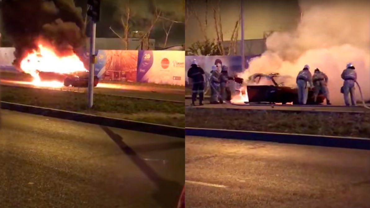 Dodge Challenger перевернулся и сгорел в Астане