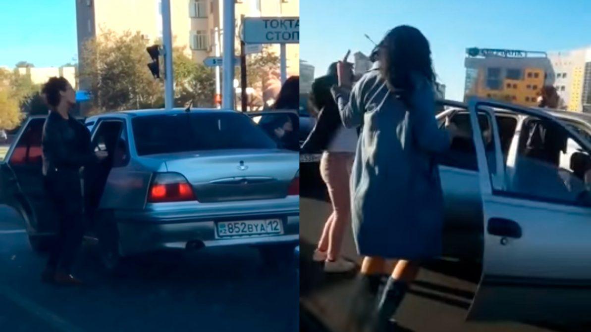 Танцы на дороге устроили девушки в Актау