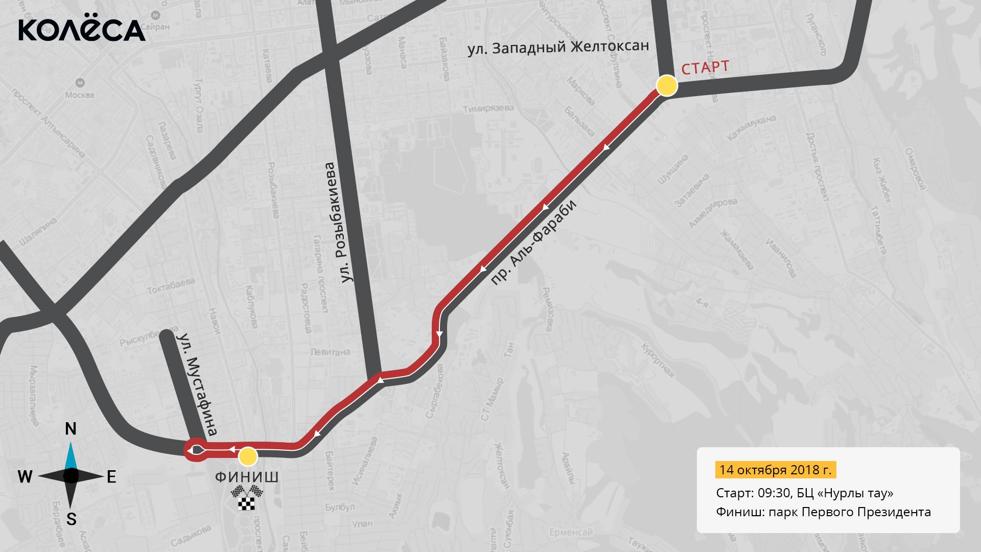 Как выехать из полумарафонского кольца 14 октября в Алматы