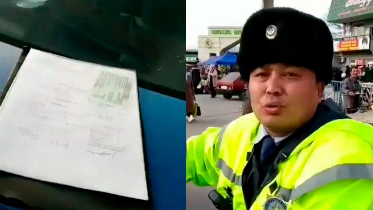 Шымкентский водитель спровоцировал полицейского на грубость