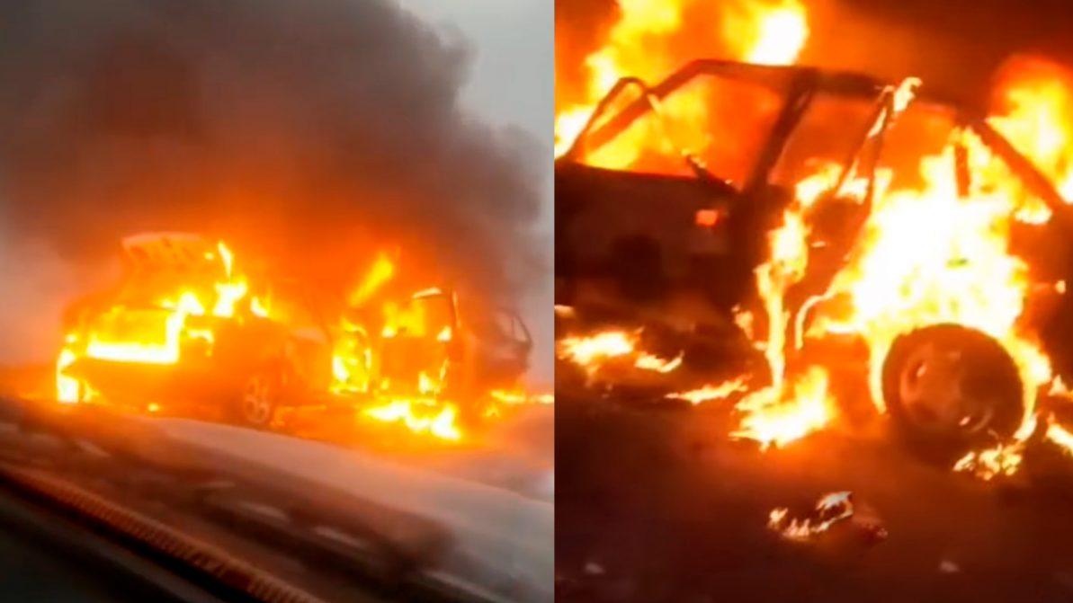 Пожаром закончилось лобовое столкновение авто под Костанаем