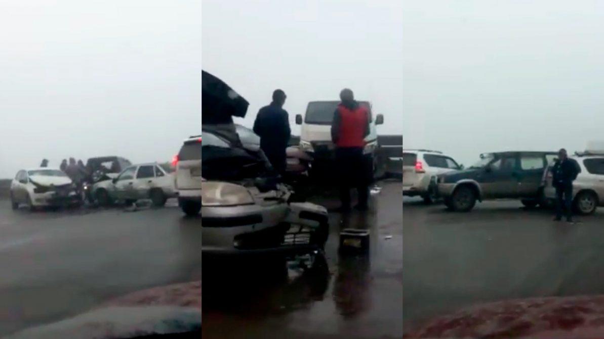 15 машин столкнулись на Капшагайской трассе
