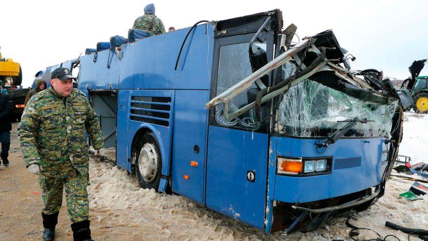 Автобус с детьми перевернулся в России