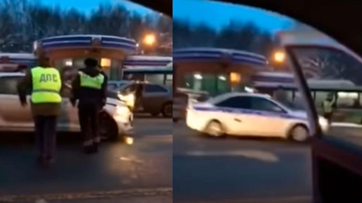 Живой щит из машин выставили во Владимире, задерживая нарушителя