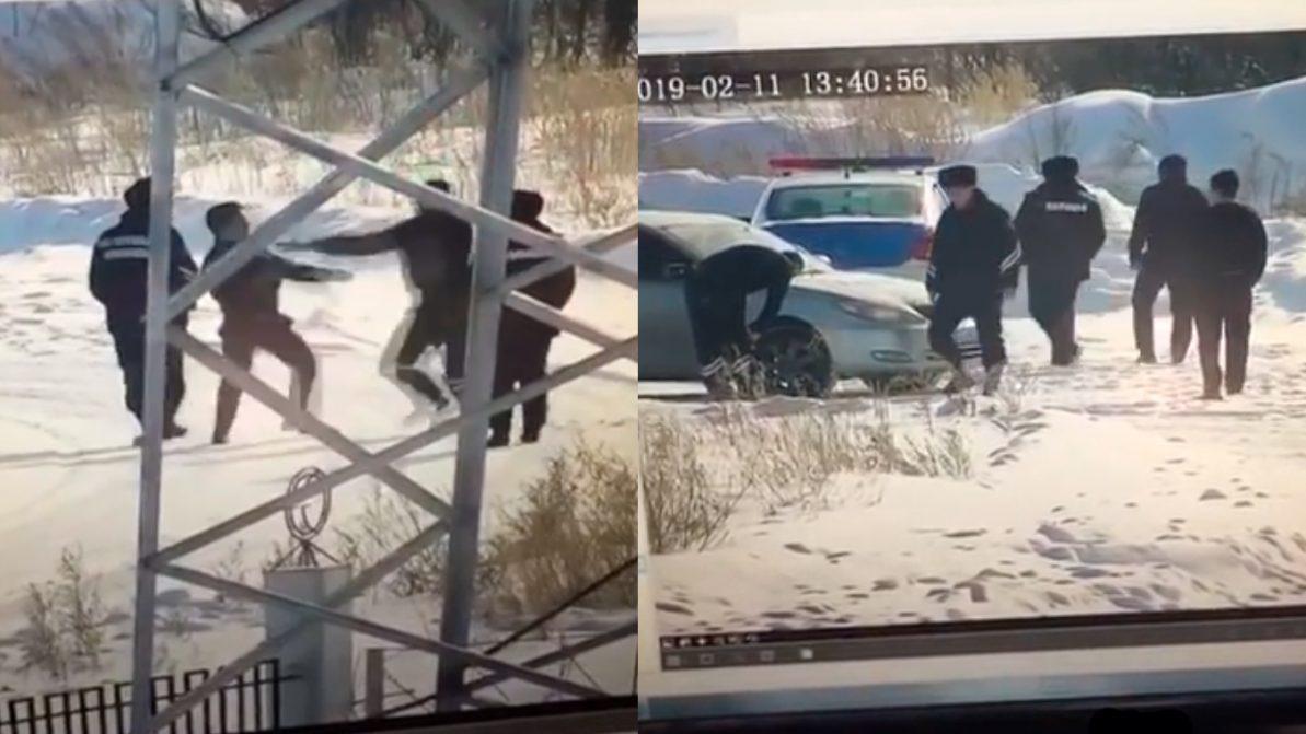 Дерущихся полицейских засняли на видео