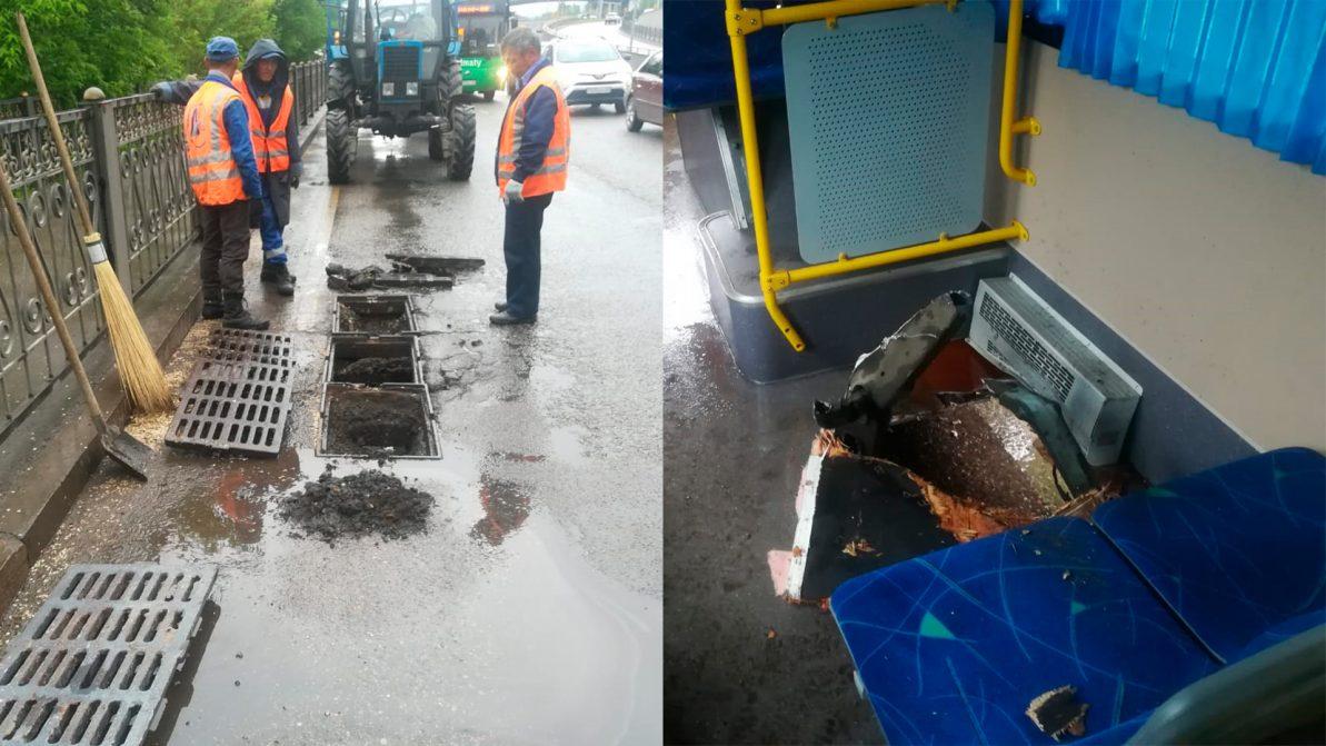 Канализационная решётка пробила днище автобуса в Алматы
