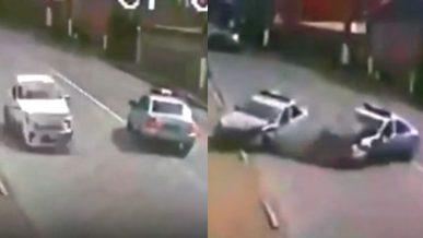 Нелепая полицейская погоня закончилась аварией