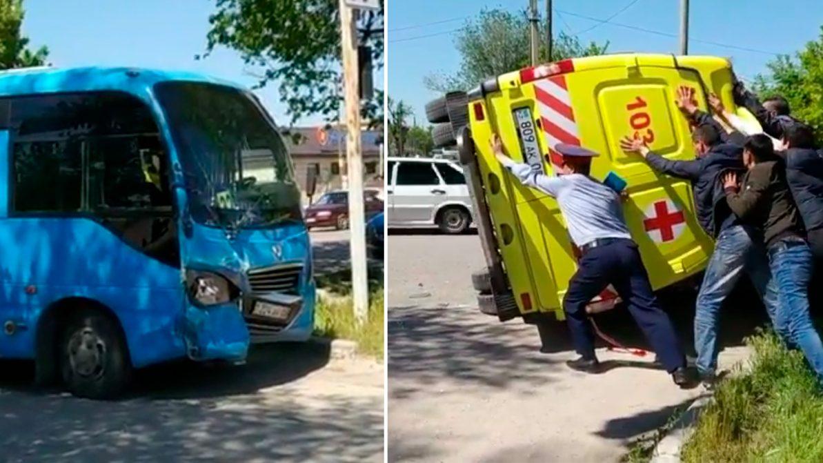 Скорая помощь столкнулась с автобусом в Таразе