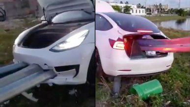 Ограждение насквозь прошило Tesla Model 3