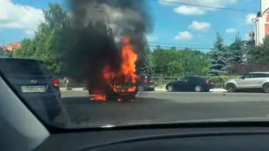 Lada взорвалась на кольце в Одинцово