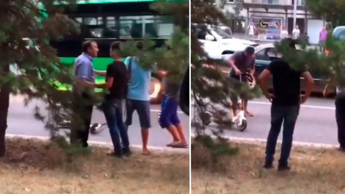 Автобусник и электросамокатчик снова не поделили дорогу в Алматы