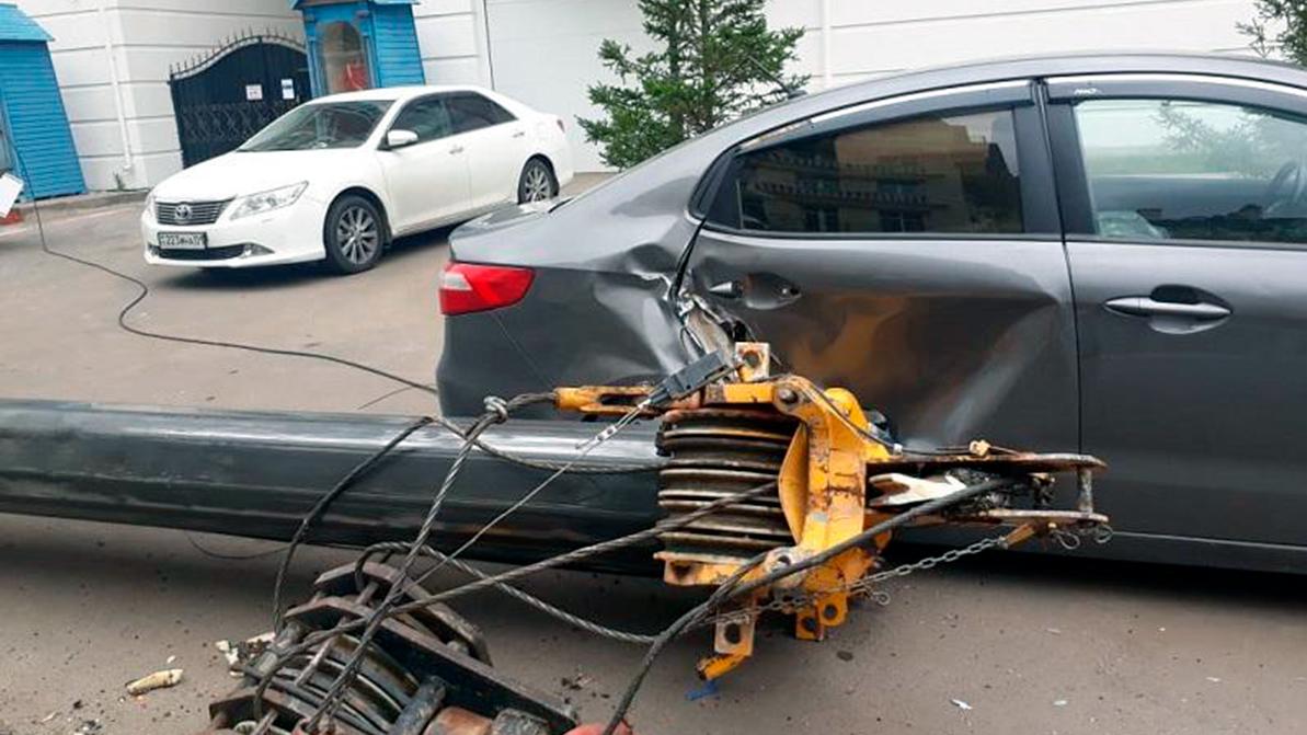 Четыре автомобиля повредило дерево, упавшее в Алматы