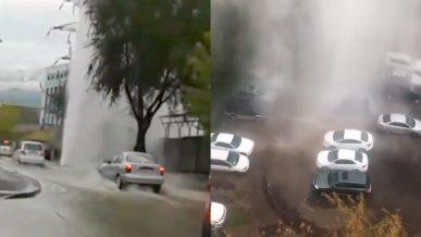 Ещё одну трубу с горячей водой прорвало в Алматы