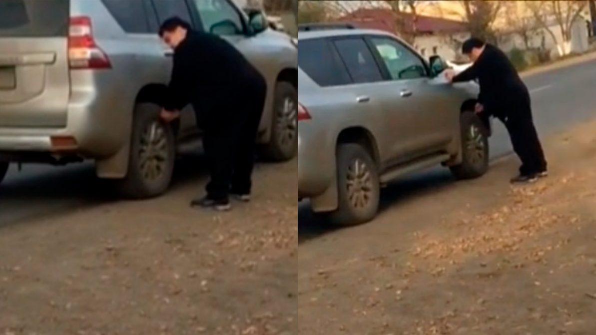 ывший районный аким после ДТП проткнул ножом колёса «обидчика»