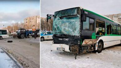 Трактор-снегоуборщик столкнулся с автобусом в Нур-Султане