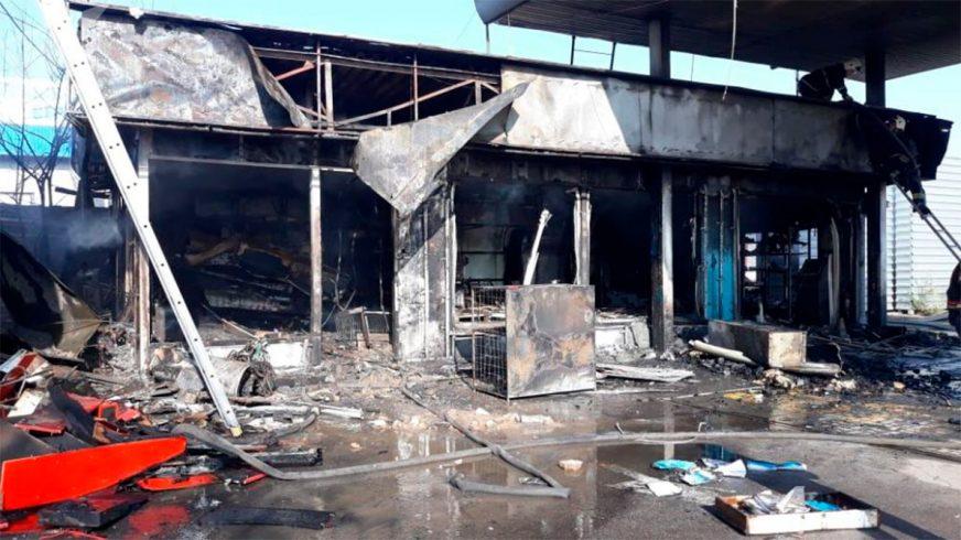 В Алматы сгорела заправка