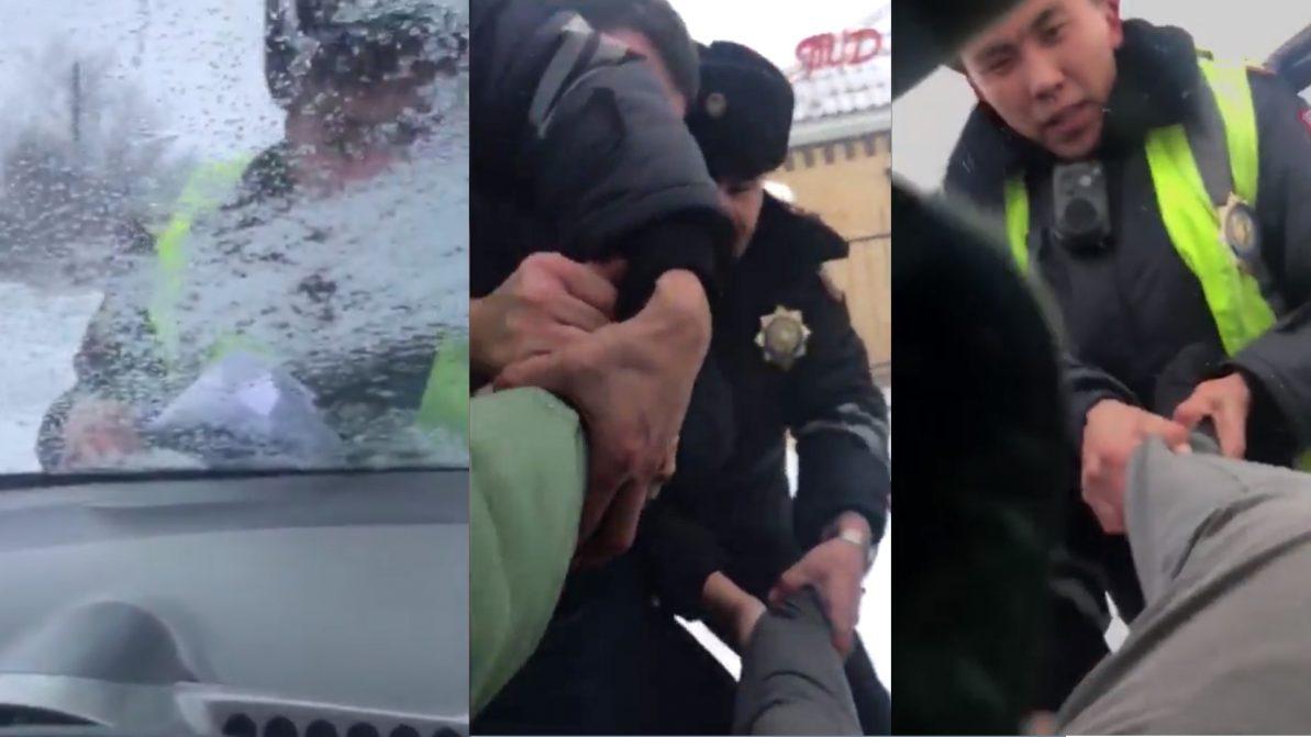 Житель Акмолинской области прокатил полицейского на капоте