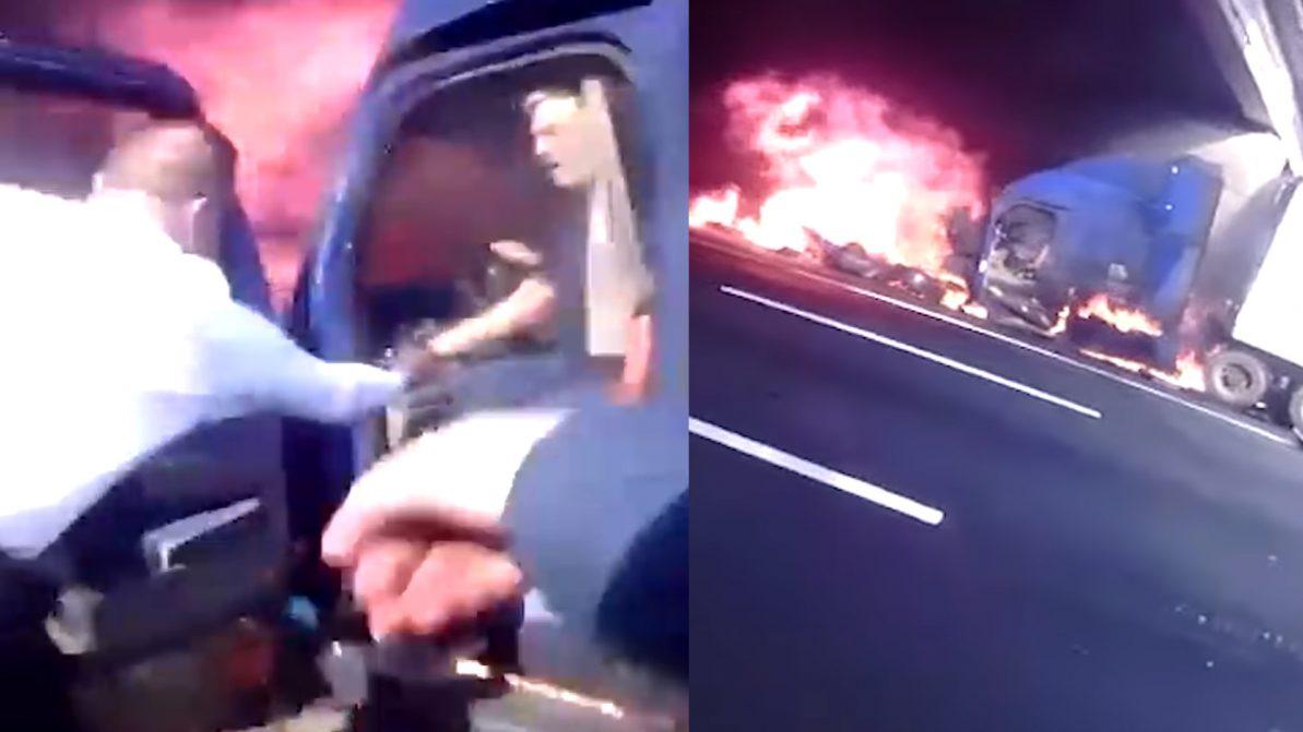Полицейские вовремя вытащили водителя из грузовика