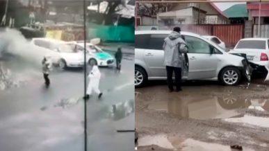 Toyota Ipsum протаранила блокпост в Алматы