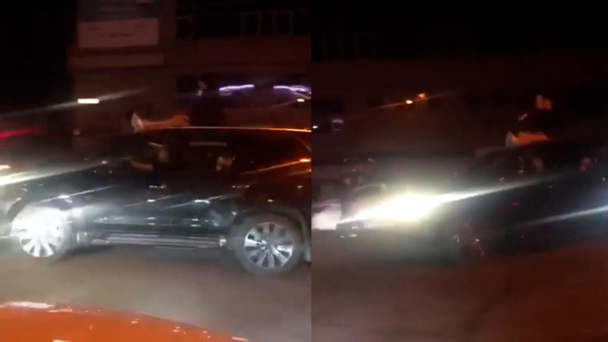Девушки прокатались на крыше Lexus LX570 в Нур-Султане