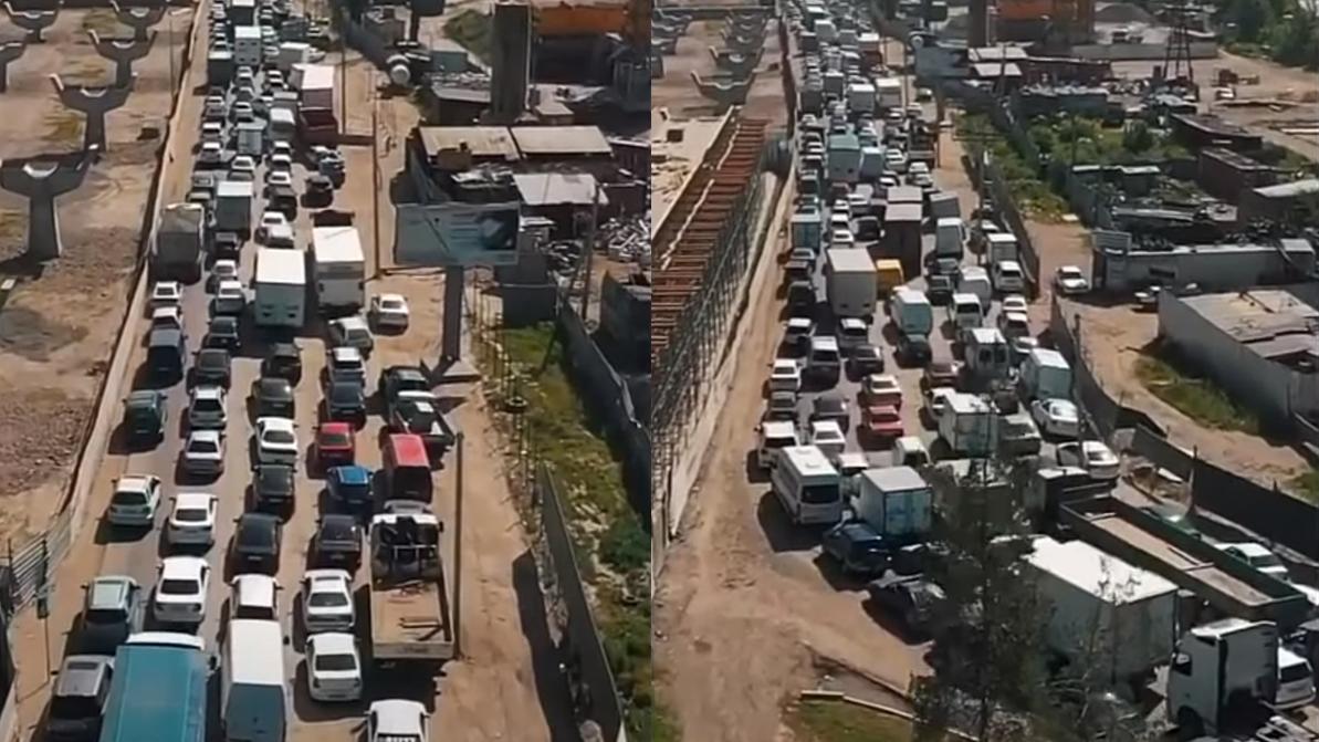 Как выглядят пробки на въездах в город с воздуха